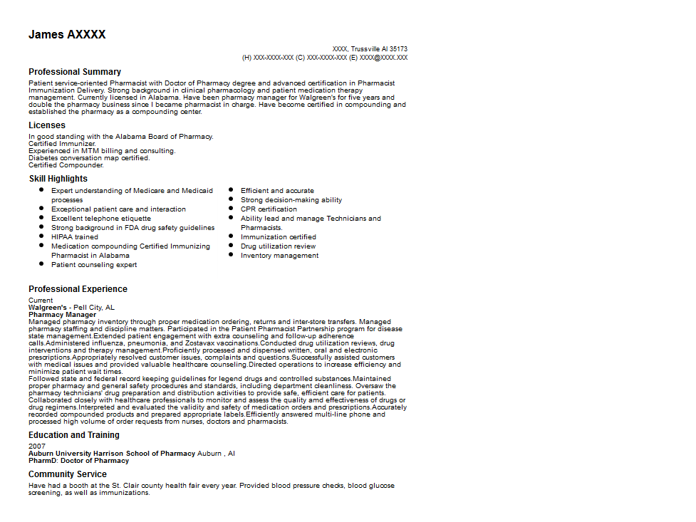 Charming Pharmacy Manager Resume Sample Quintessential LiveCareer To Pharmacy Manager Resume