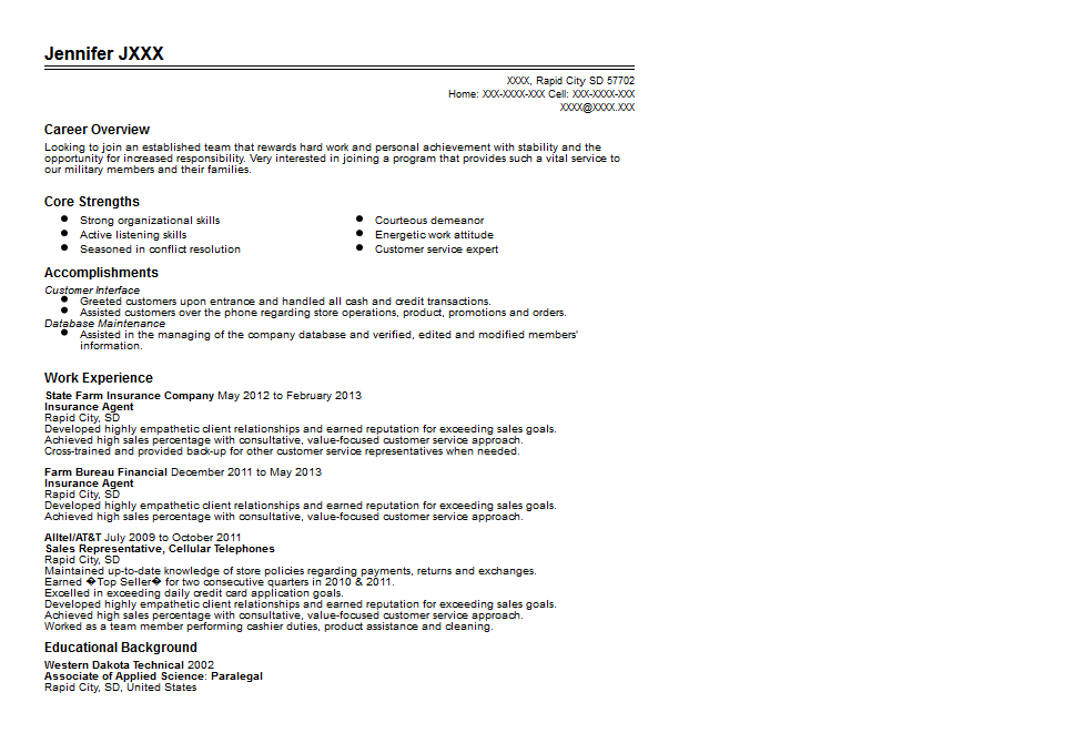 State Farm Insurance Agent Resume Sample Quintessential LiveCareer