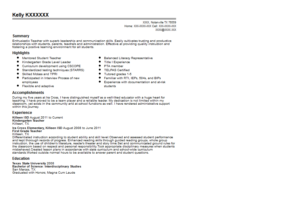 Kindergarten Teacher Resume Sample Quintessential LiveCareer