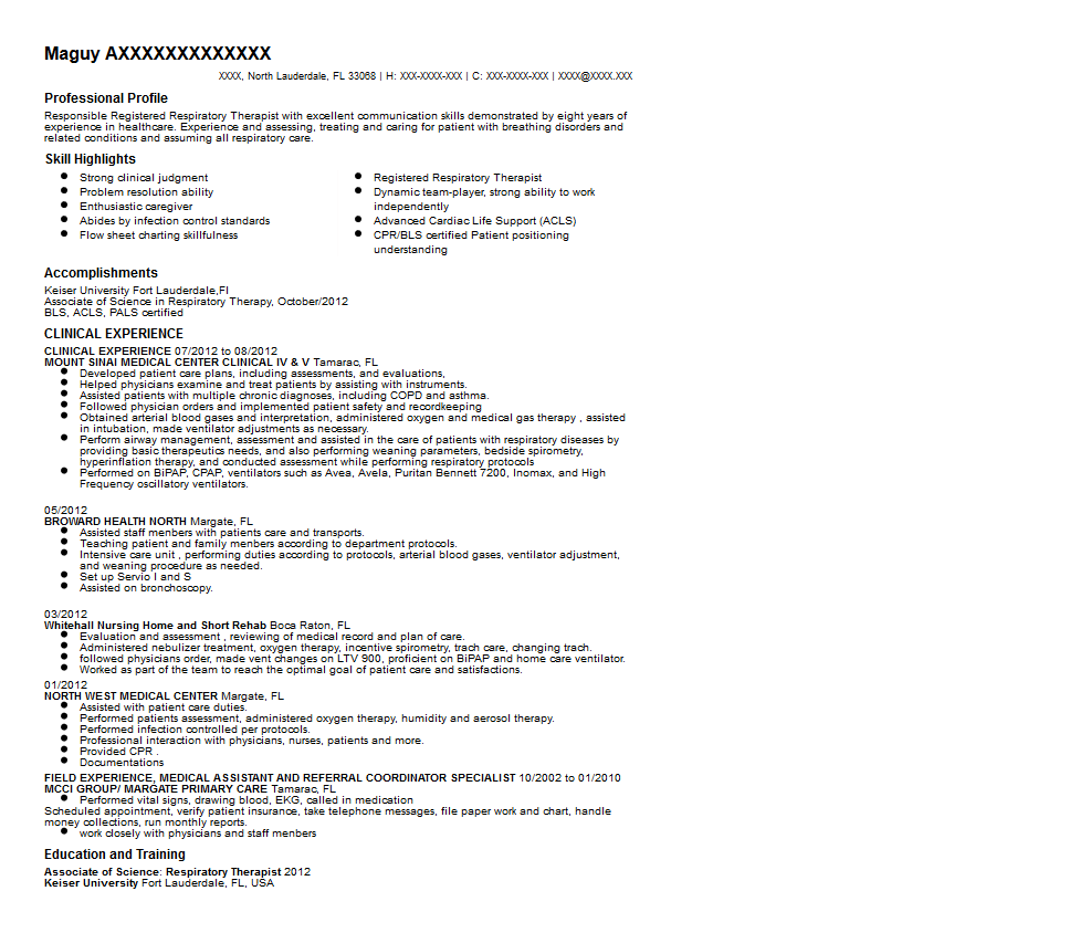 Registered Respiratory Therapist Resume Sample Quintessential