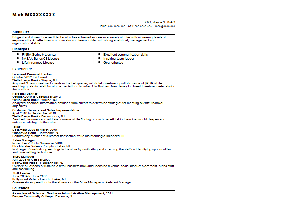 Licensed Personal Banker Resume Sample Quintessential LiveCareer