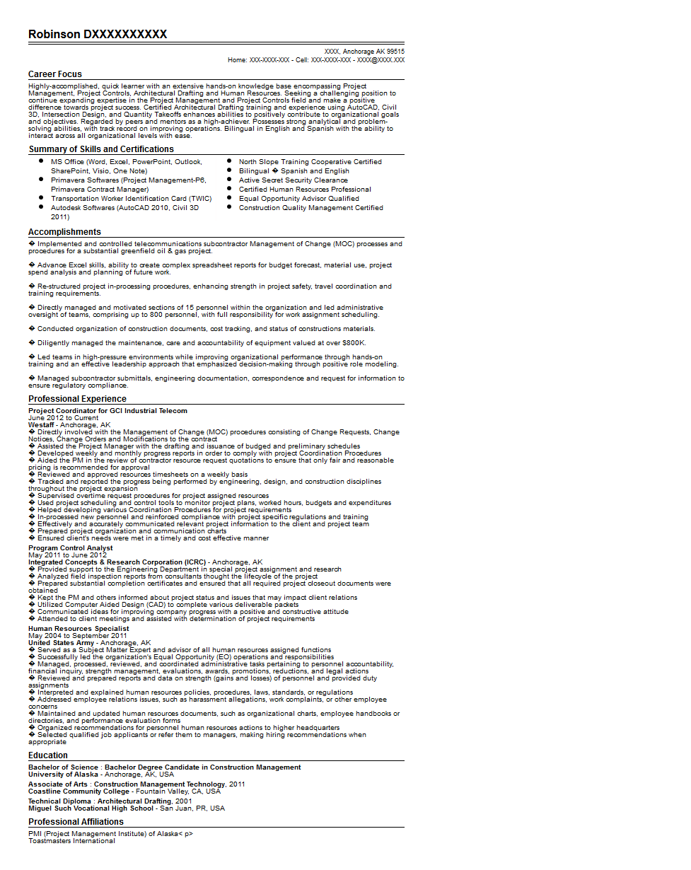 Project Coordinator Resume Examples