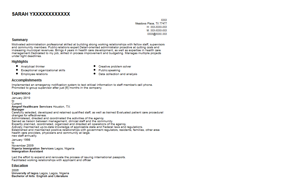 Healthcare Administrator Resume Sample Quintessential LiveCareer