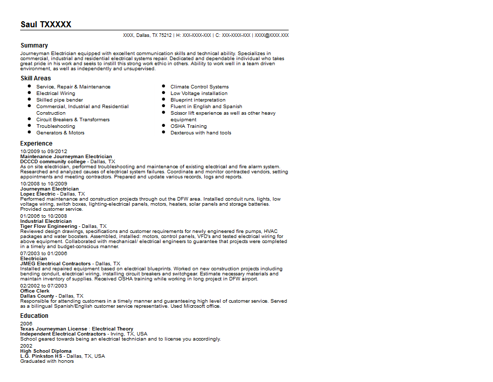 Journeyman Electrician Resume Sample Quintessential LiveCareer