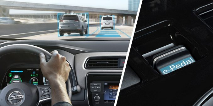 Nissan LEAF shown from behind the wheel driving on the highway and close up of e-Pedal switch