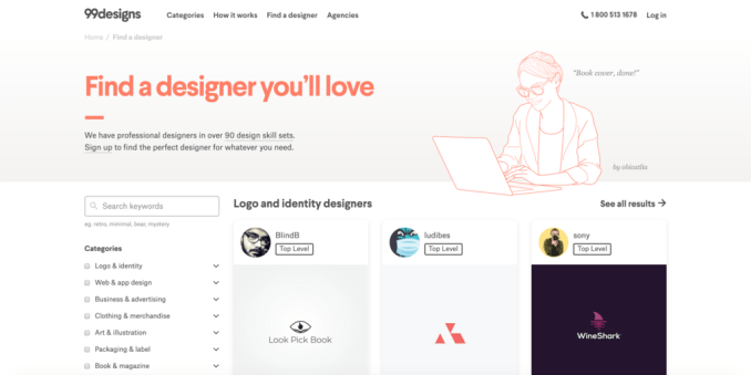 Searching for a professional designer using the 99designs search engine.