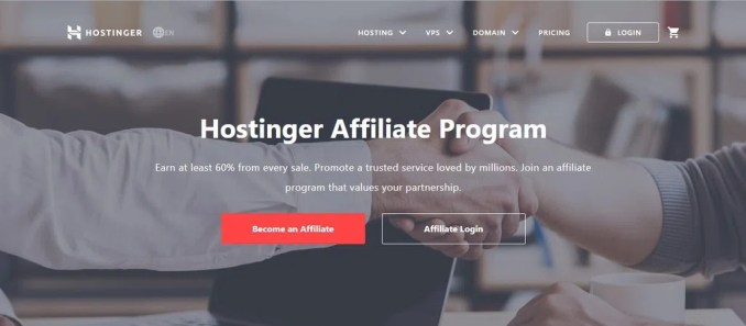 Hostinger Affiliate Program frontpage where you can learn more about the ins and outs of affiliate marketing.
