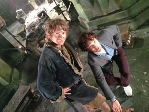 Martin Freeman as Bilbo with Benedict Cumberbatch.