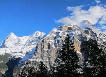 Lautenbrun Eiger Monch & Jungfraud from Murren