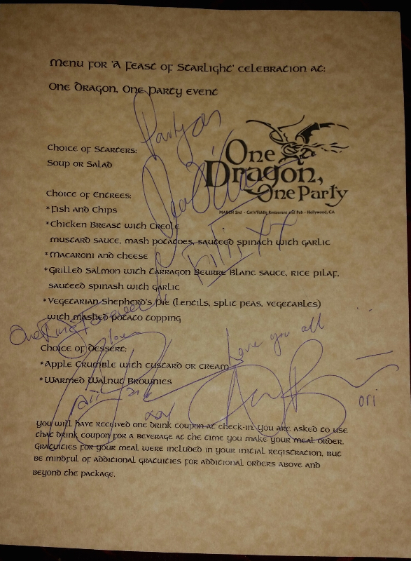 One Dragon, One Party menu signed by Dean O'Gorman, Craig Parker and Adam Brown