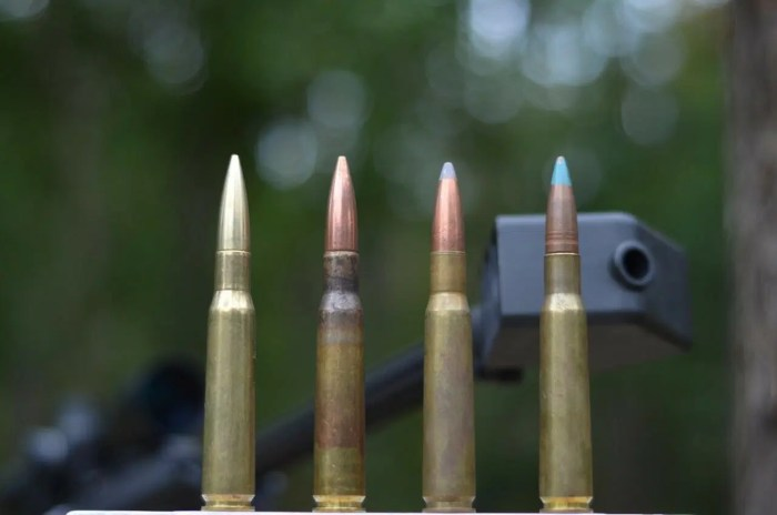 50 BMG ammo left to right: Triple R Munitions Match Solid 50 BMG 650gr, M33 BALL 660 GR FMJ, API 647 GR FMJ, M1 Incendiary 633 GR