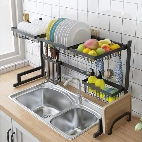 stainless steel rack with double sink drain rack