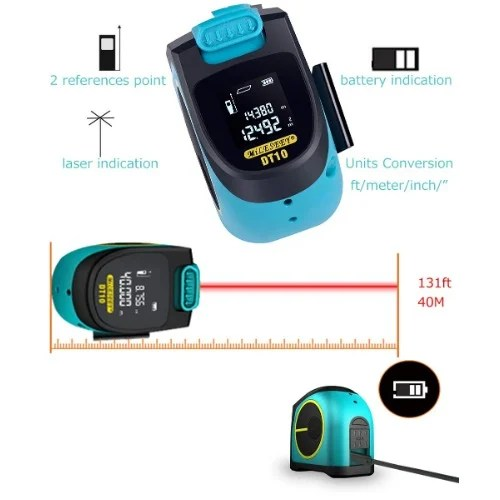 Dt10 2-in-1 Digital Laser Measure With Lcd Display Measuring Tape Laser