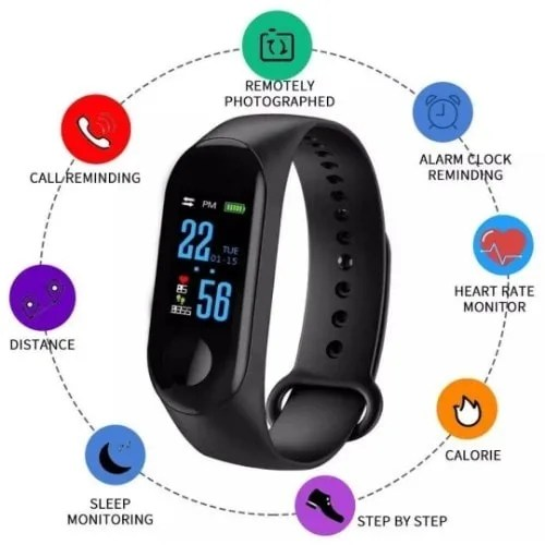 M3 Fitness Band With Heart Rate Monitor Features – Black