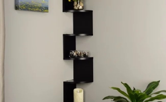 Handys Laminate Large Corner Wall Mount Shelf Black
