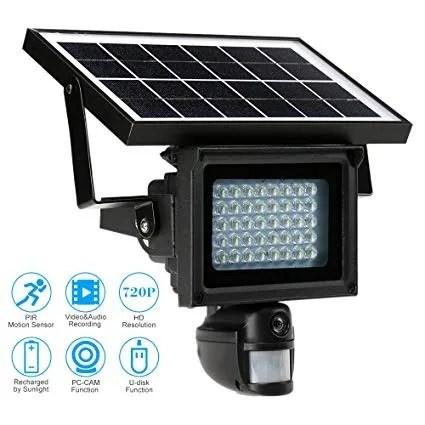 Solar Power Ir 720p Floodlight Motion Detection Camera