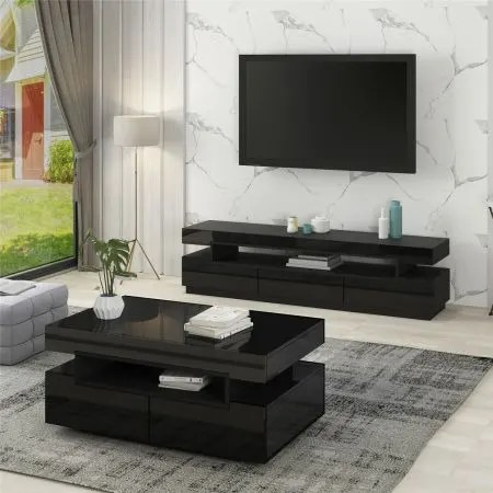 glossy glasgow tv stand with center table black
