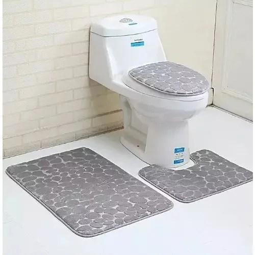 3 Piece Bathroom Set Rug Contour Mat Toilet Lid Bath Mat Grey Konga Online Shopping