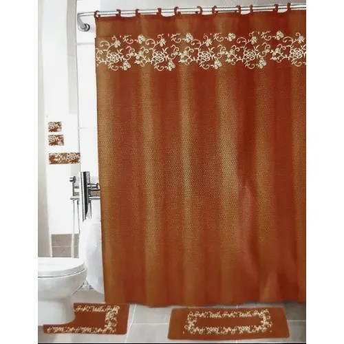 embroidered luxury shower curtain set brown
