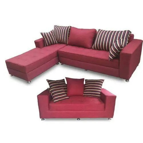 l shaped extra 2 seater sofa wine red free ottoman