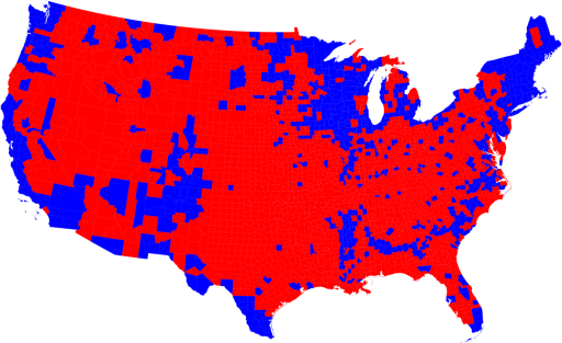 Mappa elettorale 2008 per contea