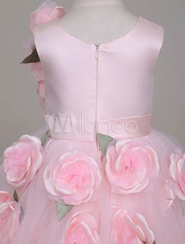 Blumenmdchenkleider Weiche Rosa Tutu Kleid Asymmetrische