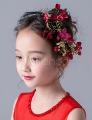 flower girl hair accessories red