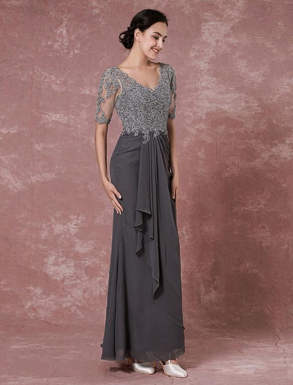 Maxi Spitze Mutter Kleid grau Chiffon Abendkleid Mantel V