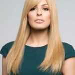AF-S2-626411 Women's Blond Wigs Long Straight Synthetic Hair Wigs With Side-swept Bangs