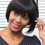 AF-S2-667631 Black Hair Wigs African American Short Straight Bob Heat Resistant Fiber Wigs With Bangs