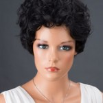 AF-S2-662789 Black Hair Wigs Women's Short Curly Synthetic Wigs