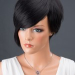 AF-S2-662799 Women's Hair Wigs Black Short Side Bangs Straight Synthetic Wigs