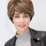 AF-S2-662815 Light Tan Hair Wigs Women's Short Straight Side Bangs Synthetic Wigs