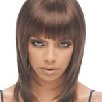 AF-S2-668369 Women's Brown Wigs Straight Shoulder Length Synthetic Wigs With Blunt Fringe