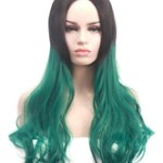 AF-S2-669367 Long Hair Wigs Women's Curly Center Parting Atrovirens 2 Colors Synthetic Wigs