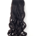 AF-S2-434633 Black Tousled Curly Synthetic Long Clip in Hair Extensions