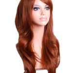 AF-S2-568989 Brown Side-swept Bangs Woman's Long Wig