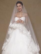 Ivory Wedding Veil One-Tier Applique Tulle Lace Bridal Veil(300cm Length)