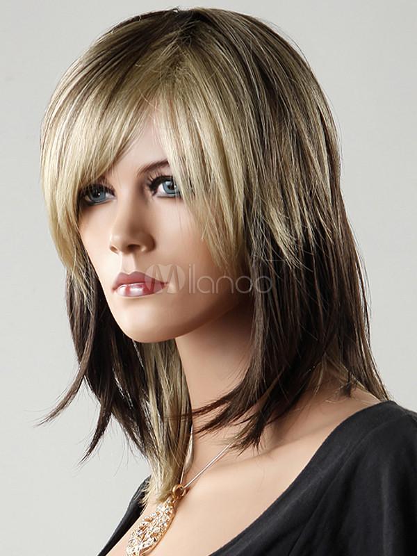 MultiColor Medium Length Straight Wig For Women  Milanoocom