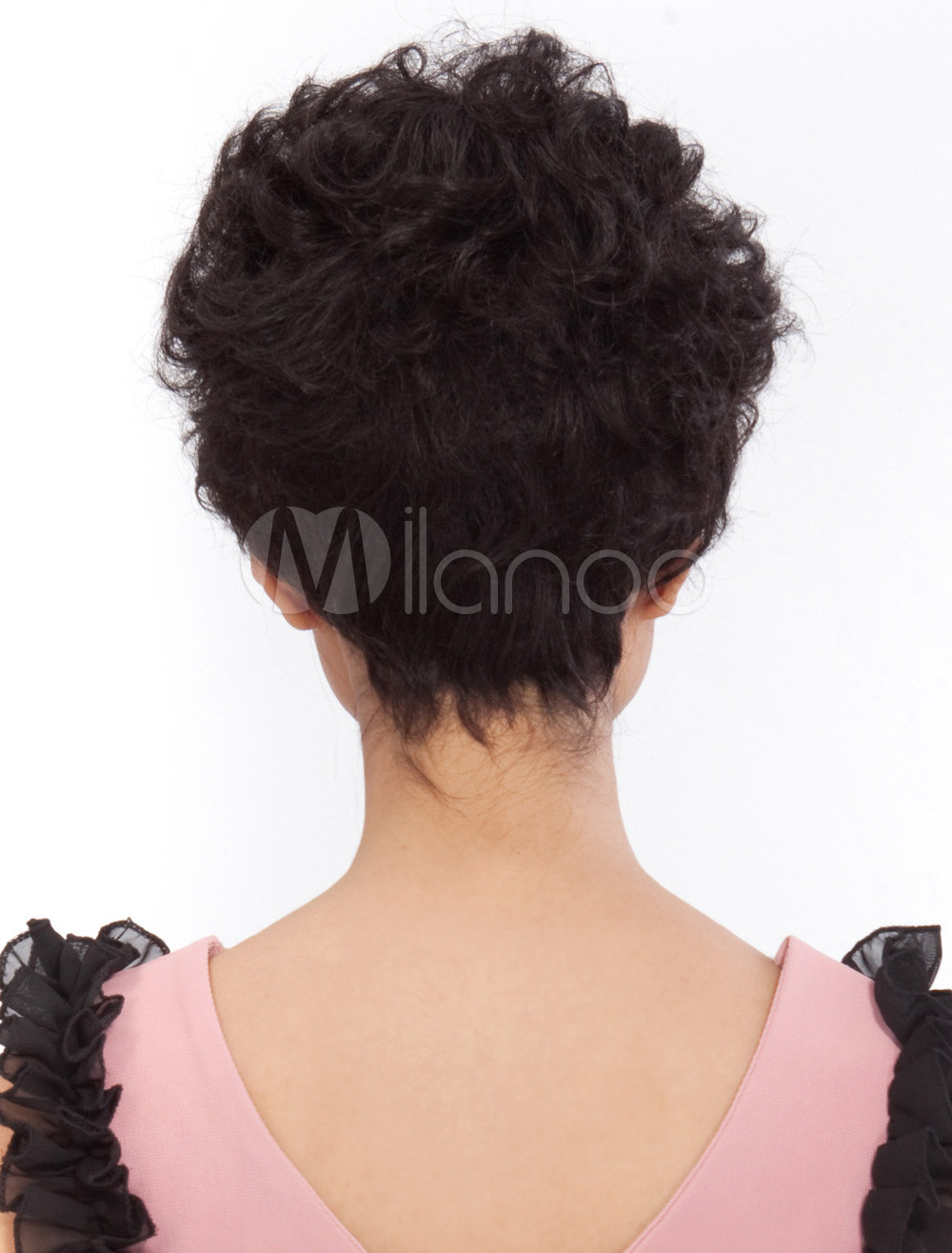 Fashion Black Short Curly Human Hair Wig
