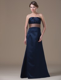 A-line Dark Navy Satin Maternity Bridesmaid Dress with ...
