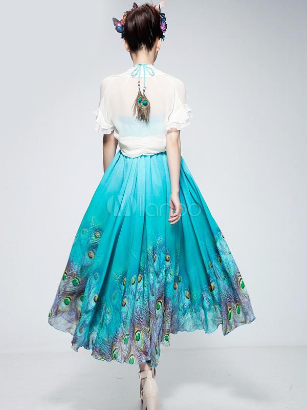 Blue Peacock Print Chiffon DressSkirt  Milanoocom