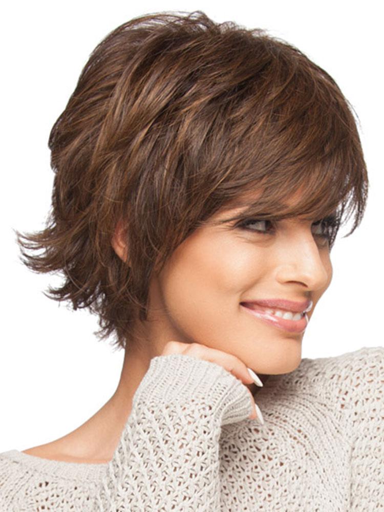 Human Hair Wigs Tan Fluffy Wavy Bouncy Women Short Wigs  Milanoocom