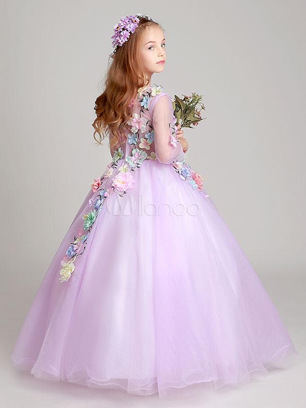 Princess Flower Girl Dresses White Floor Length Applique V Neck Tulle Long Sleeve Kids Pageant