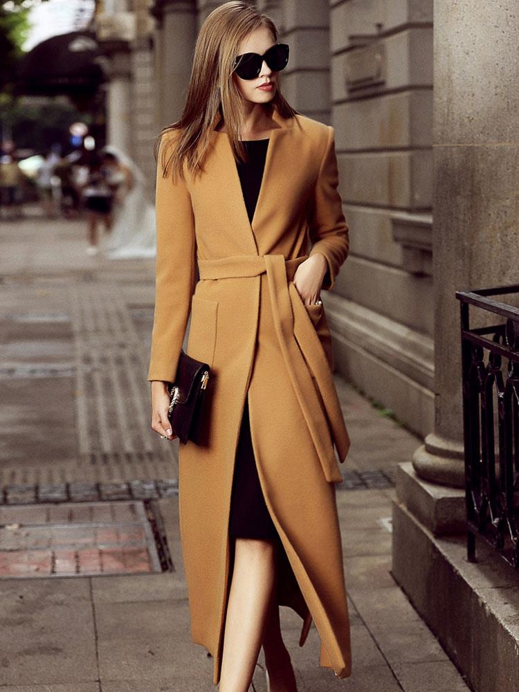 Manteau Femme Hiver En Laine Avec Poches Col Montant
