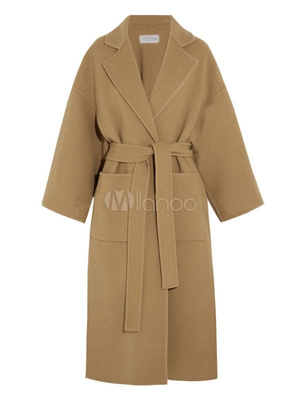 Women Wool Coat Long Sleeve Notch Collar Light Tan Split Wrap Coat Winter Polo Coats  Milanoocom
