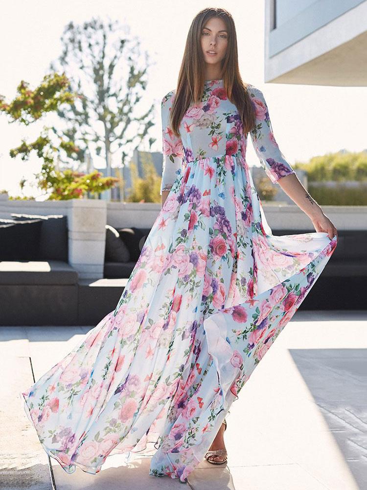 Floral Maxi Dress Half Sleeve Crewneck Semi Sheer Chiffon