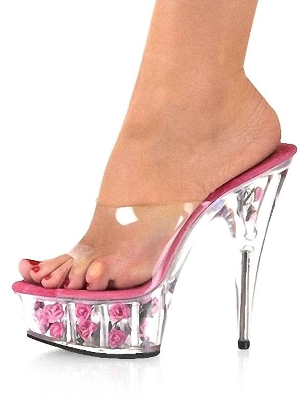 Sandali sexy trasparenti eleganti con tacchi alti sottili