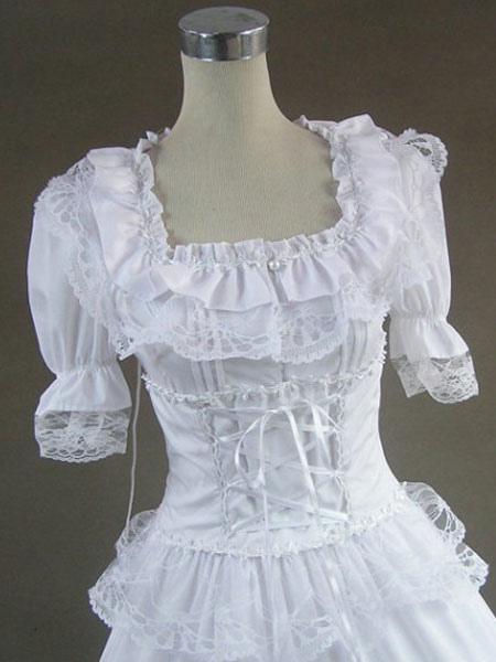 White Lolita Dress OP Victorian Era Square Neck Short