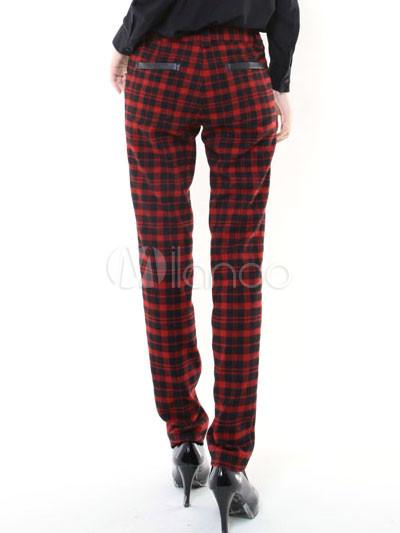 Fashion Black Red Plaid Pattern Cotton Wool Womens Skinny Pants  Milanoocom